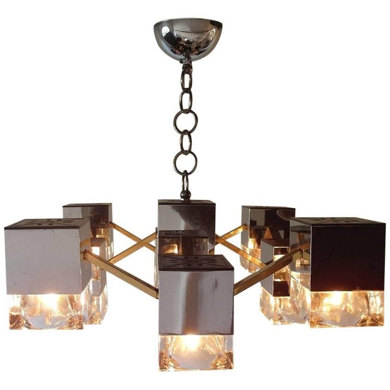 Sciolari Mirrored Chandelier with Glass Cubes and Brass, Italy, 1970s