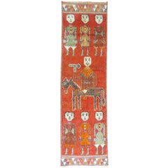 Pictorial Human Horse Vintage South Persian Runner