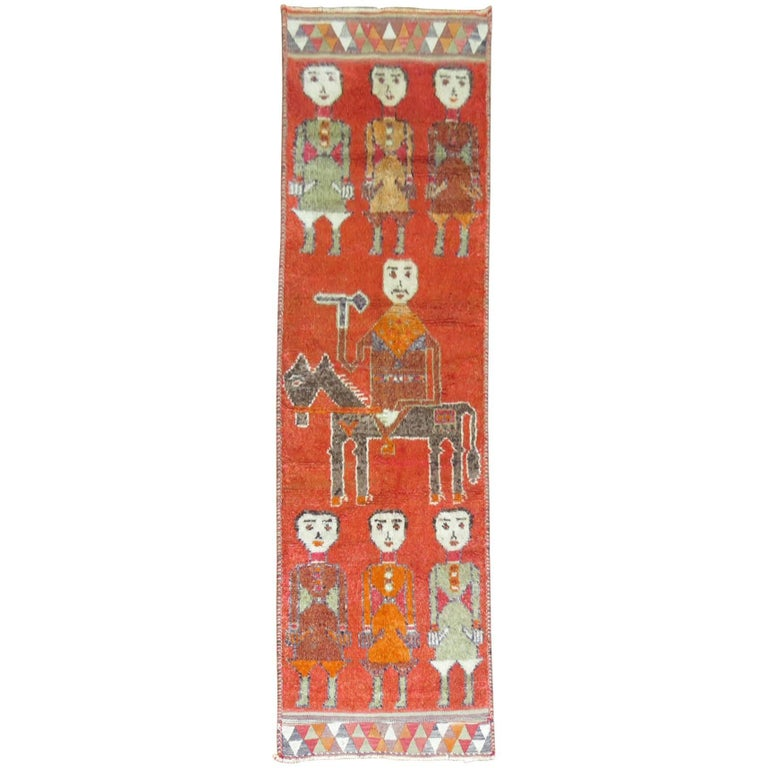 Pictorial Human Horse Vintage South Persian Runner For Sale