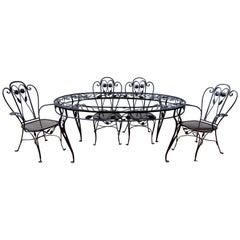 Salterini Patio Dining Set, Wrought Iron Seven Pieces