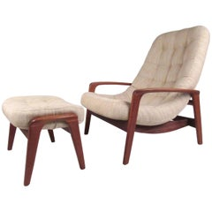 Vintage Modern Teak Frame Lounge Chair with Ottoman