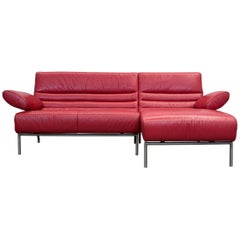 Koinor Design Leather Corner Couch Red Function Modern