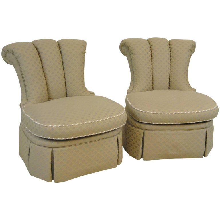 Pair Of Upholstered Armless Chairs By Century Furniture Company For