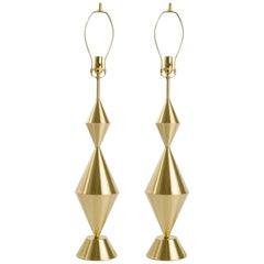 Pair of Fashioned by Hand Conical Brass Lamps