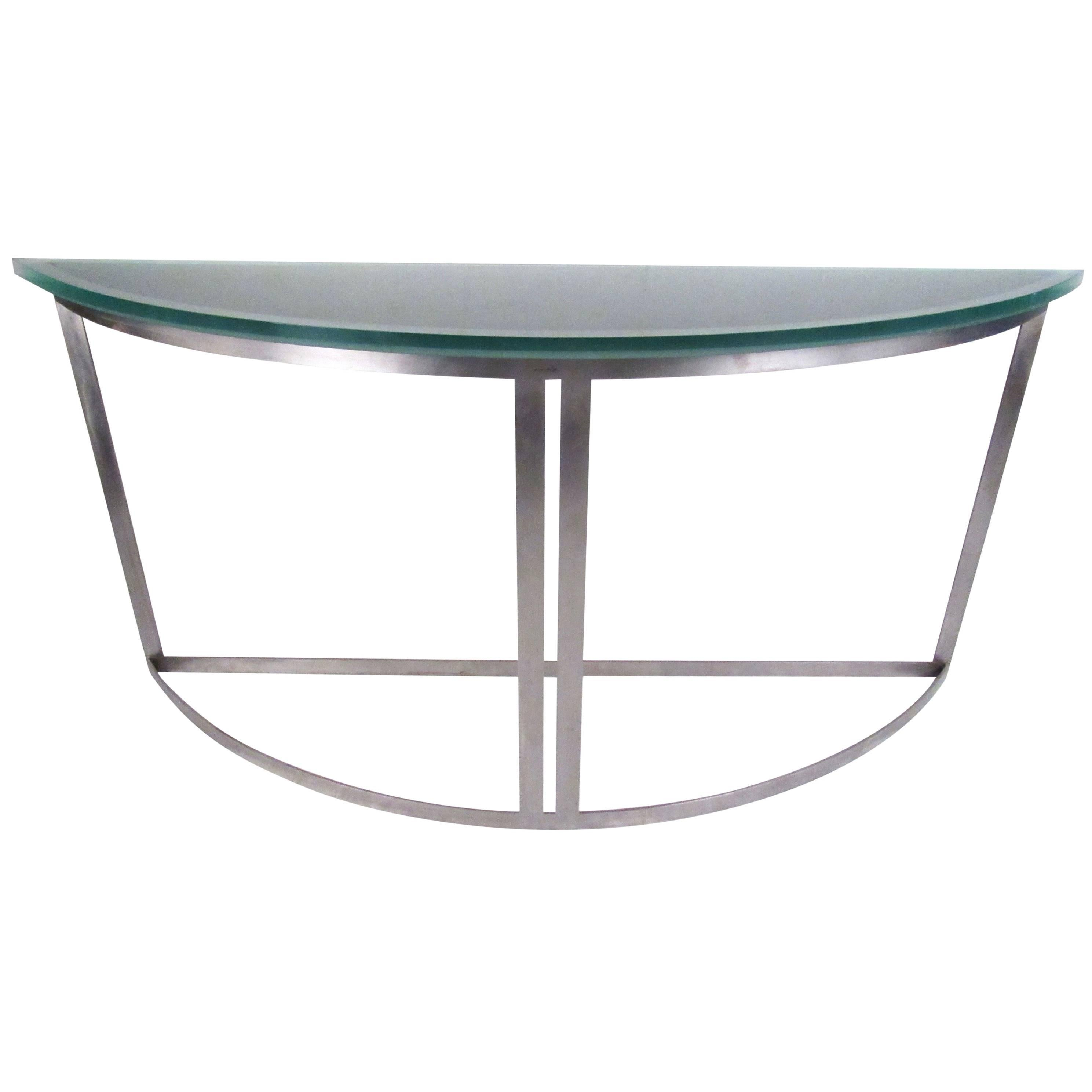 Industrial Modern Demilune Console Table with Sandblasted Glass Top