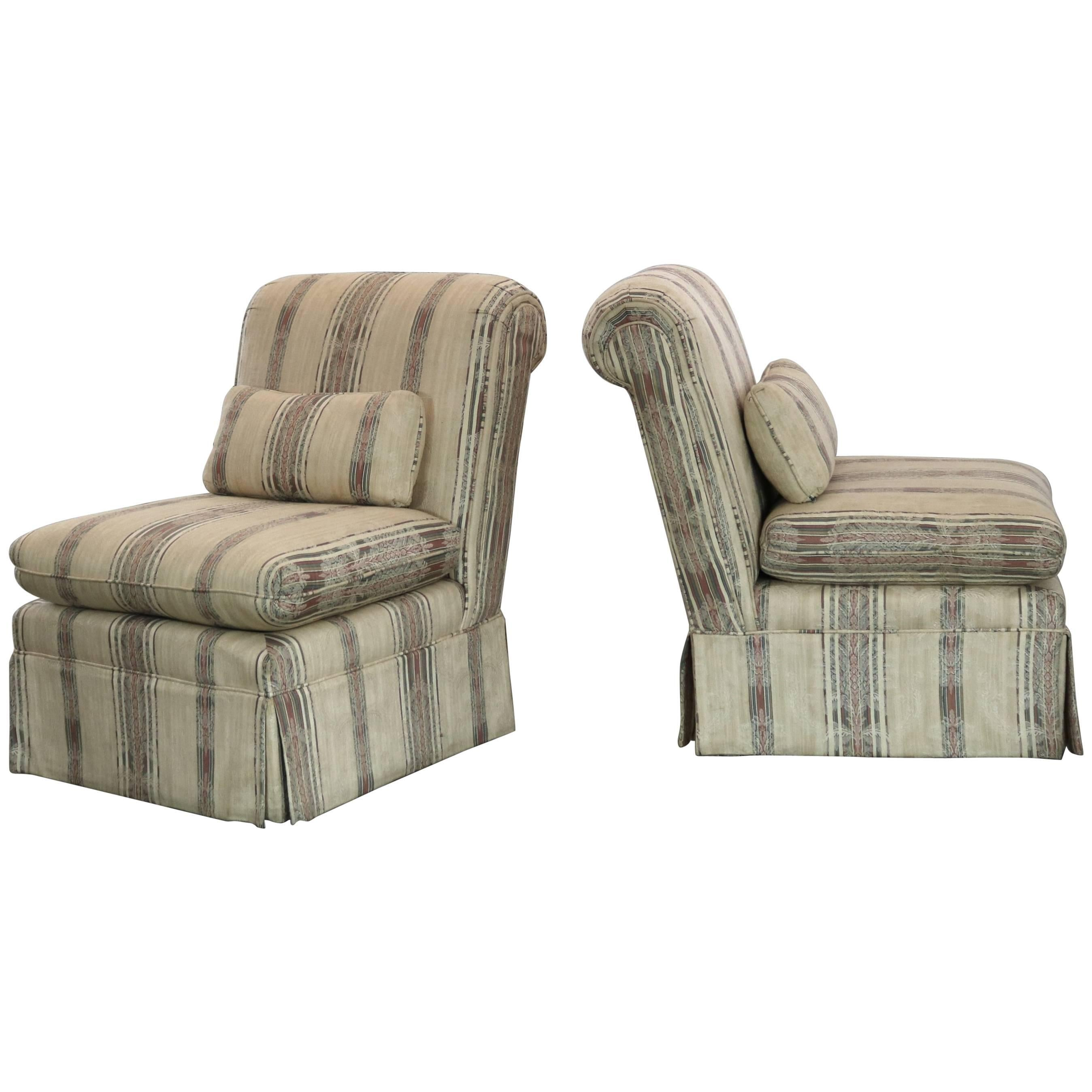 Striped Roll Back Slipper Chairs A Vintage Pair For Sale