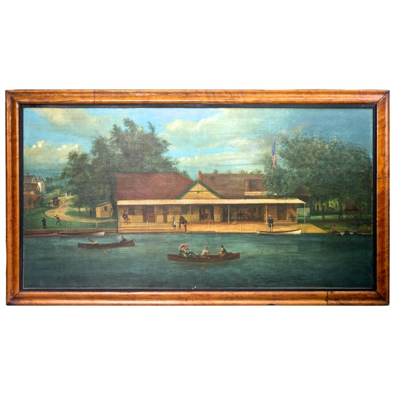 """Rhodes on the Pawtuxet"" Painting by M. A. Andrieu For Sale"