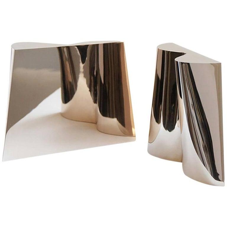 Onda Pair Bronze Art Object Polished  Contemporary Sculpture DLeuci Studio