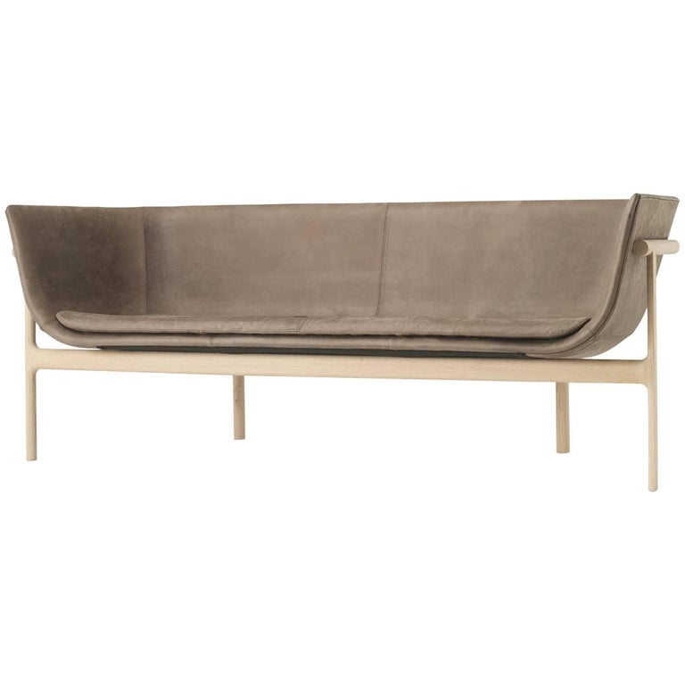 Tailor Lounge Sofa by Rui Alves, Natural Oak with Dark Brown Leather, Quickship For Sale