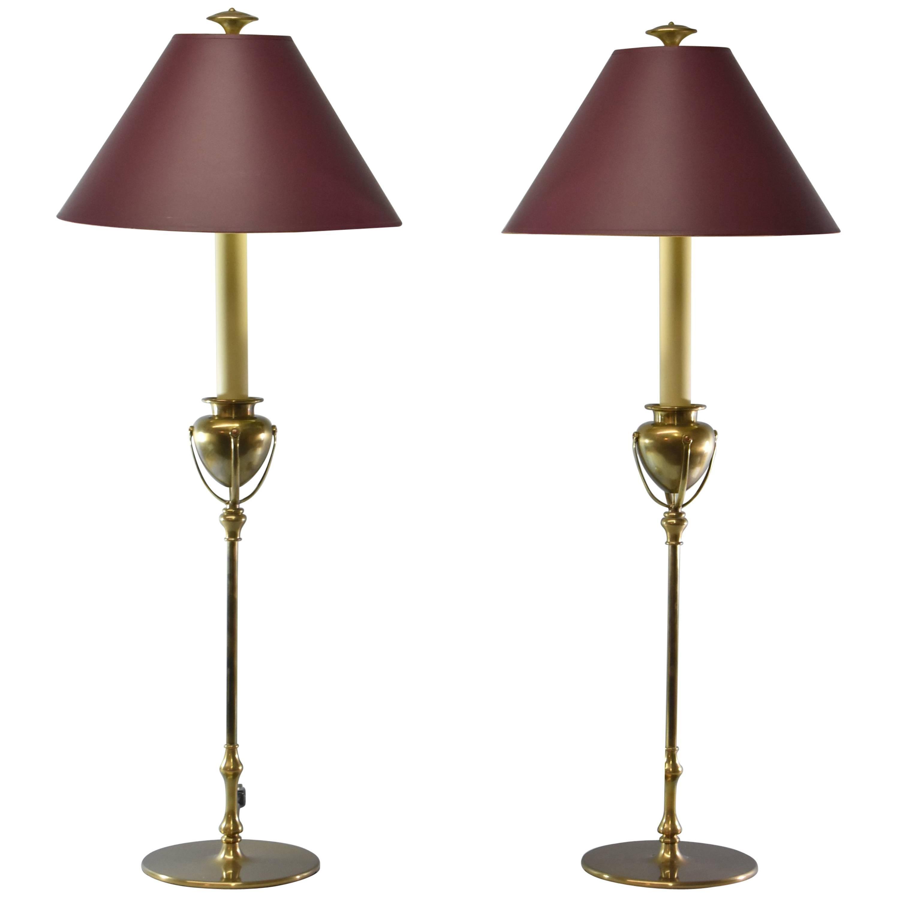 Pair of Tall Chapman Brass Buffet Lamps 1985 at 1stdibs