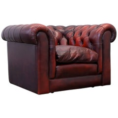 Original Chesterfield Club Chair Oxblood Red