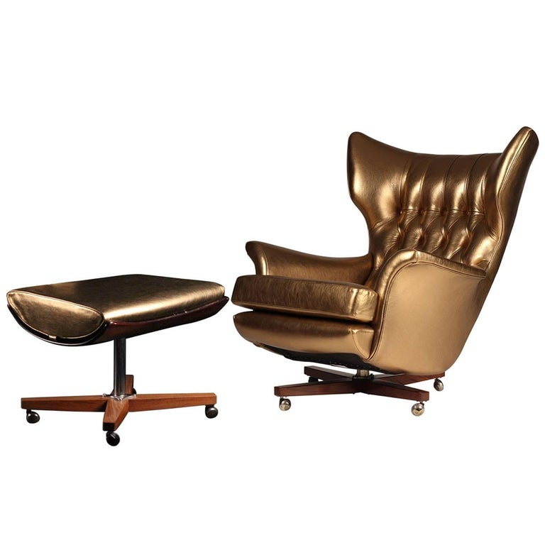 G Plan Lounge Chair And Ottoman Model 62 Blofeld At 1stdibs