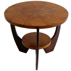 Round Deco Briar Root Side Table, 1930