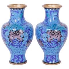 Pair of Midcentury Cloisonné Vases