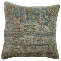 Distressed Persian Mohtasham Kashan Rug Pillow