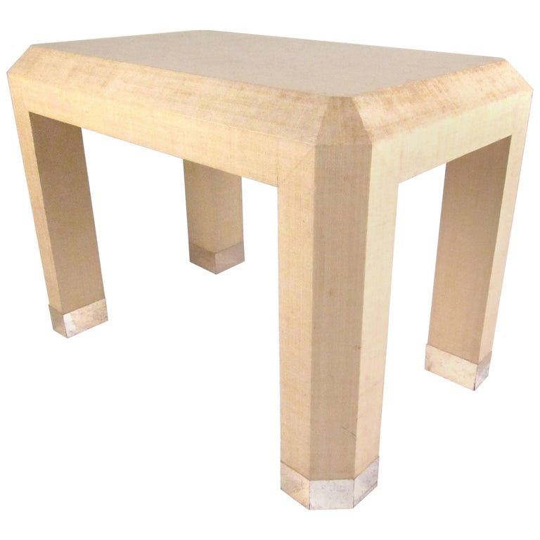 Grass Cloth Table in the Style of Karl Springer