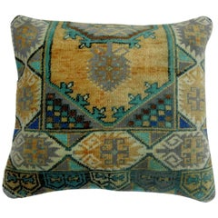Green Turkish Anatolian Rug Pillow