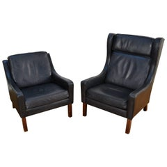 Vemb Polstermøbelfabrik Black Leather Easy Chair and High Back Chair