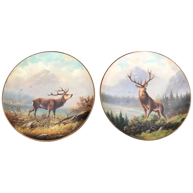 Antique Pair of Hand-Painted Earthenware Wall Plates Landscape with Deer / Stag For Sale