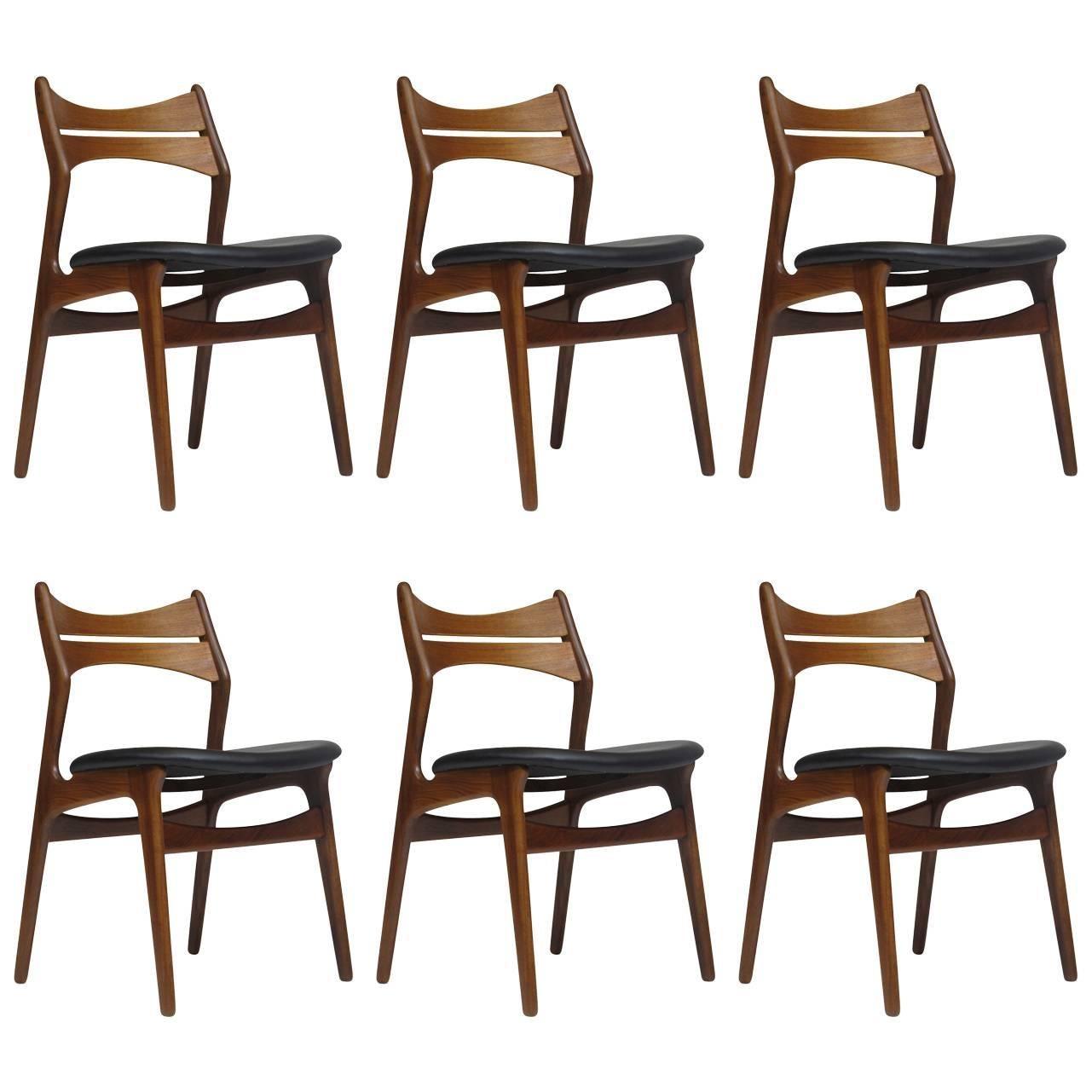 Beau 1960s Erik Buck Danish Teak Dining Chairs   Set Of Six   45 Available