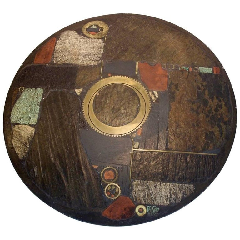 Brutalist Paul Kingma One-Off Ceramic and Brass Artwork Coffee Table, Holland 19