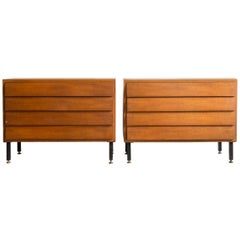Pair of Walnut Four-Drawer Slatted Side Tables