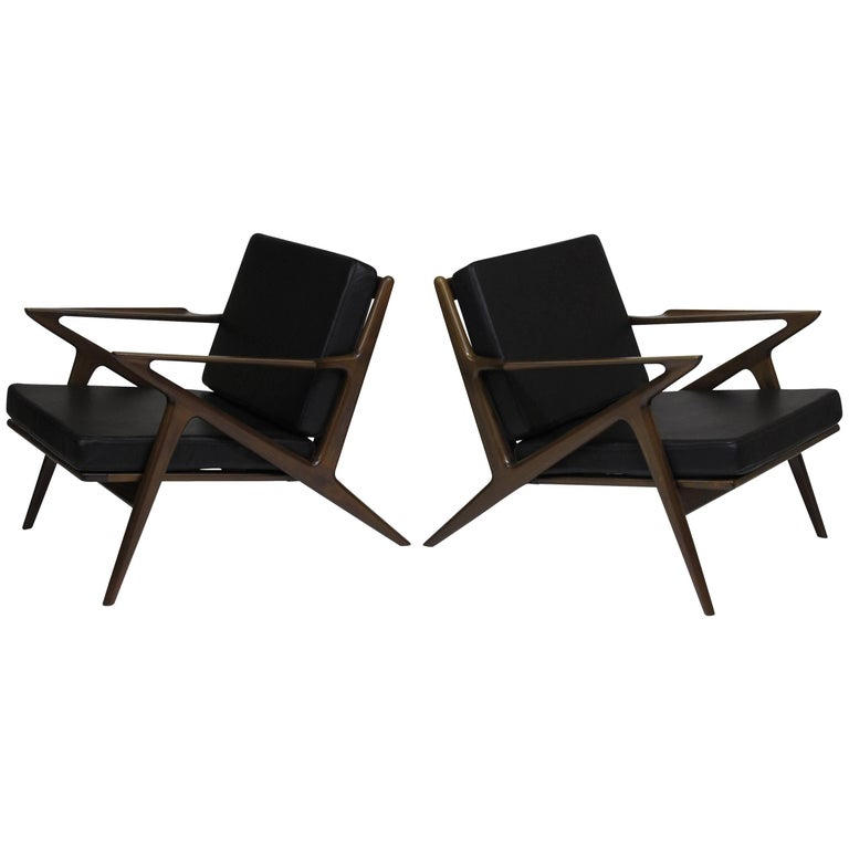 Pair of Midcentury Selig 'Z' Lounge Chairs by Poul Jensen