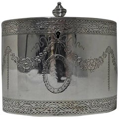 Antique George III Sterling Silver Tea Caddy, London, 1785 William Vincent
