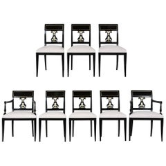 Set of Eight Hollywood Regency-Style Dining Chairs