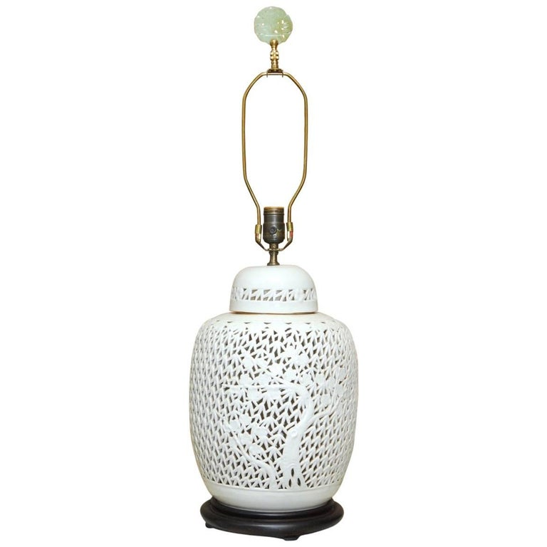 Mid Century Reticulated Porcelain Blanc De Chine Table Lamp