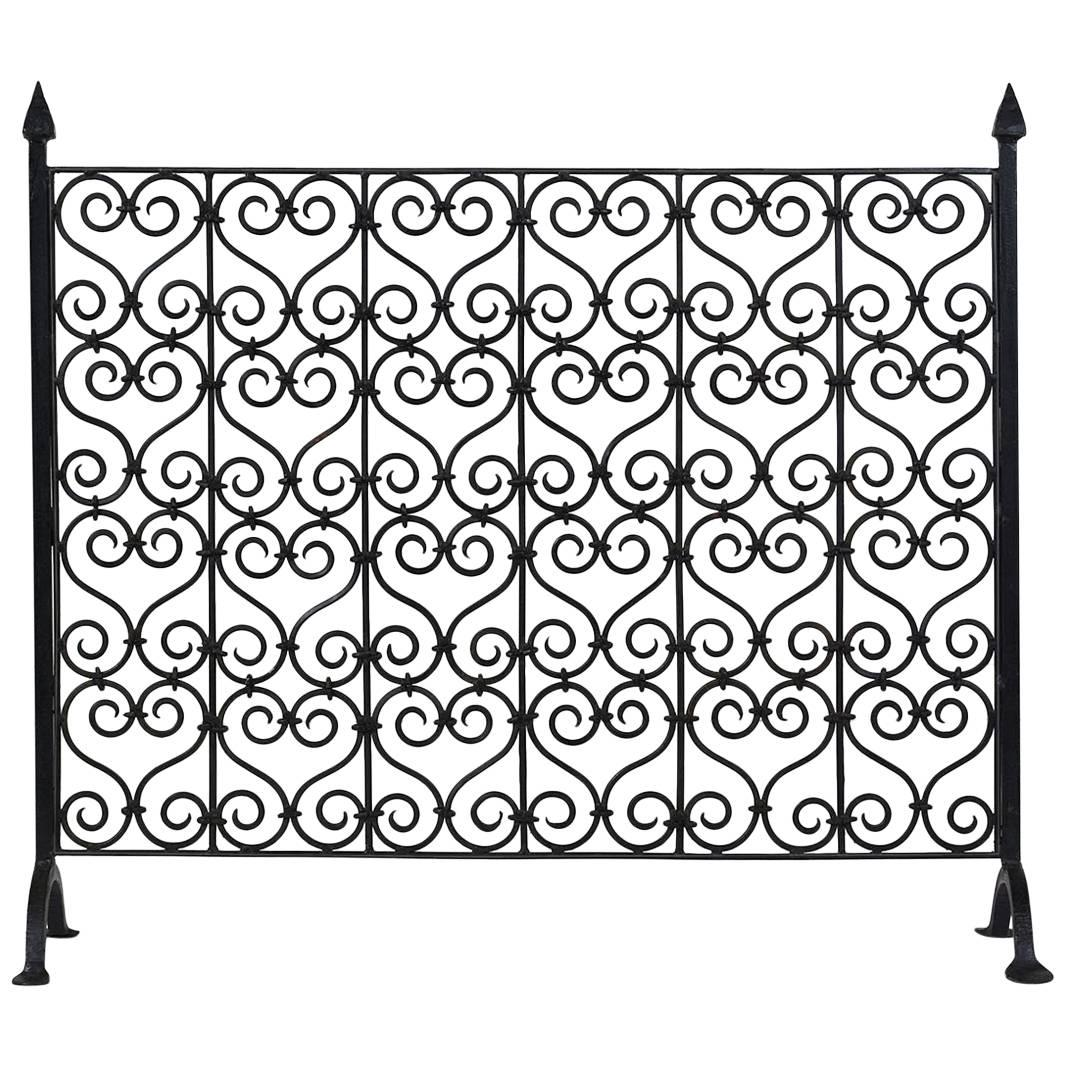 Antique French Baroque Wrought Iron Fireplace Screen For Sale