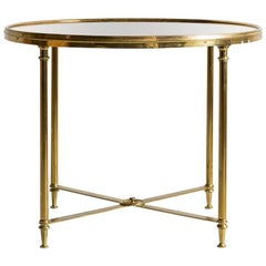 Brass Framed Rose Mirror Round Side Table