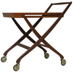 Danish Teak Folding Serving Bar Cart