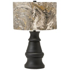 Liz Marsh Paris Now Black Stoneware Lamp with Marbleized Paper Shade