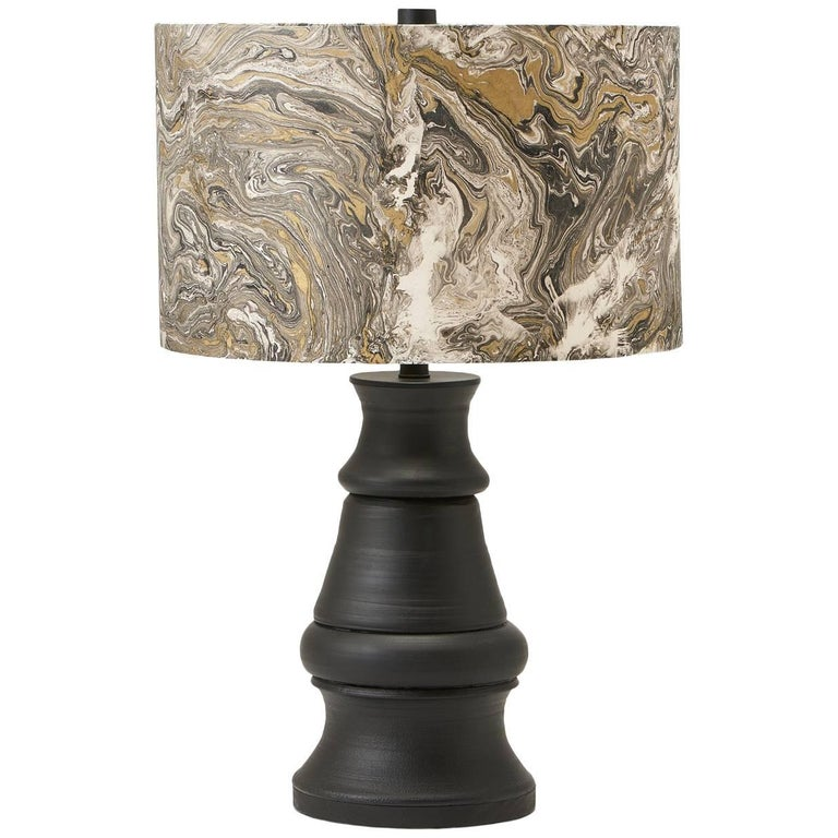 Liz Marsh Paris Now Black Stoneware Lamp with Marbleized Paper Shade For Sale