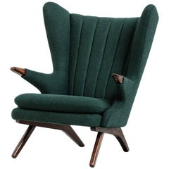 Papa Bear lounge chair model 91 designed by Svend, 1950s. Green wool upholstery