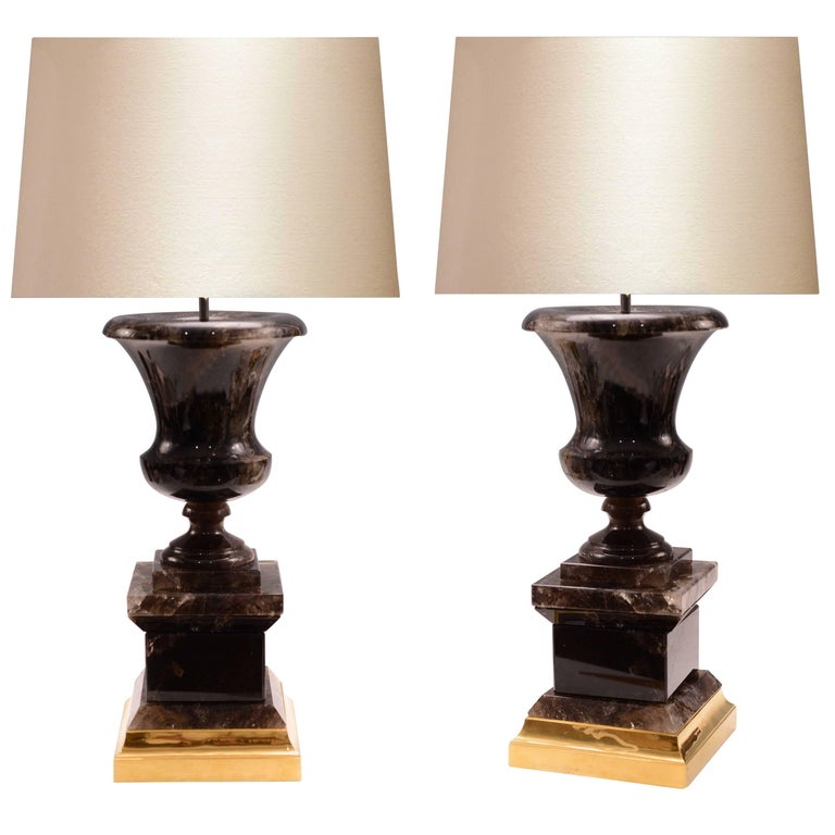 Pair of Urn Form Smoky Brown Rock Crystal Lamps