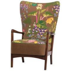 Fritz Hansen Lounge Chair, Floral Upholstery by Gocken Jobs, circa 1950s