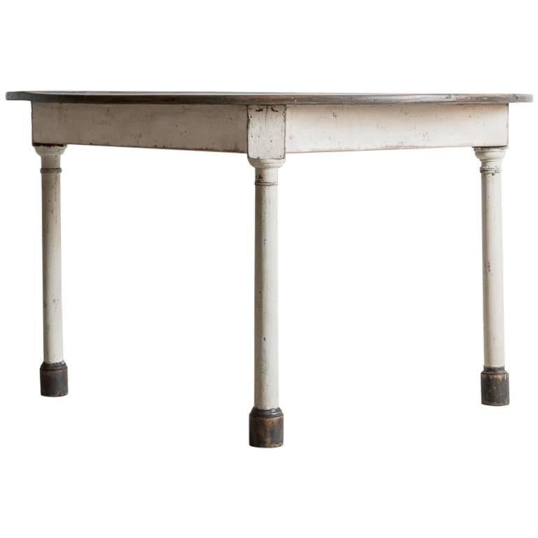 Rustic Wooden Demilune Table with White Painted Base and Cylindrical Feet For Sale