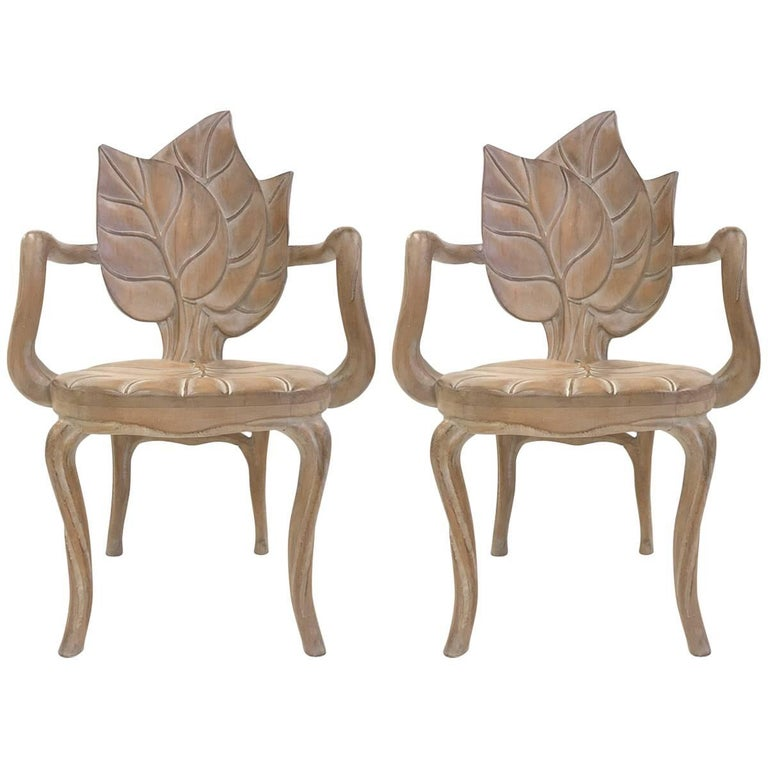 Pair of Bartolozzi & Maioli Carved Wooden Leaf Armchairs For Sale