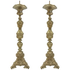 Pair of 19th Century Tall Brass Italian Pricket Sticks