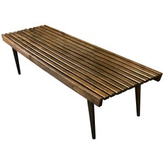 Midcentury Teak Slat Bench or Table in the Style of George Nelson