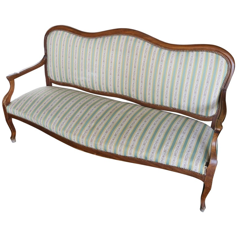 19th Century Set Of French Settee Sofa And An Armchair In Louis Philippe Style For