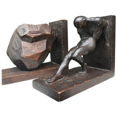 Striking and Hand-Carved Art Deco Athletic Nude Male and Rock Sculpture Bookends