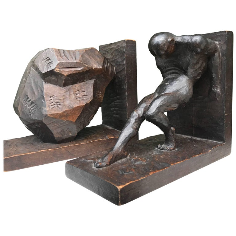 Striking And Hand-Carved Art Deco Athletic Nude Male And Rock Sculpture Bookends At -5896