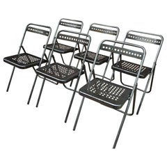 Set of Six Iron Folding Chairs from Reims City Hall, France, circa 1950