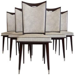 Six French Style Dinning Chairs on Dark Lacquered Oak