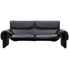 De Sede Ds 2011 Designer Sofa Black Full Leather Made in Switzerland