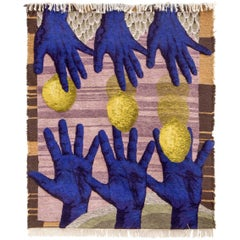Contemporary Design Rug, Hand-Knotted, Hands Catching by Christoph Hefti