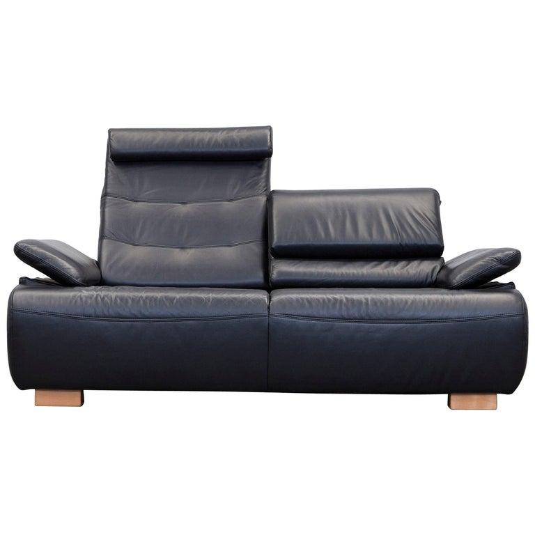 designer sofa black full leather two seat for sale at 1stdibs. Black Bedroom Furniture Sets. Home Design Ideas